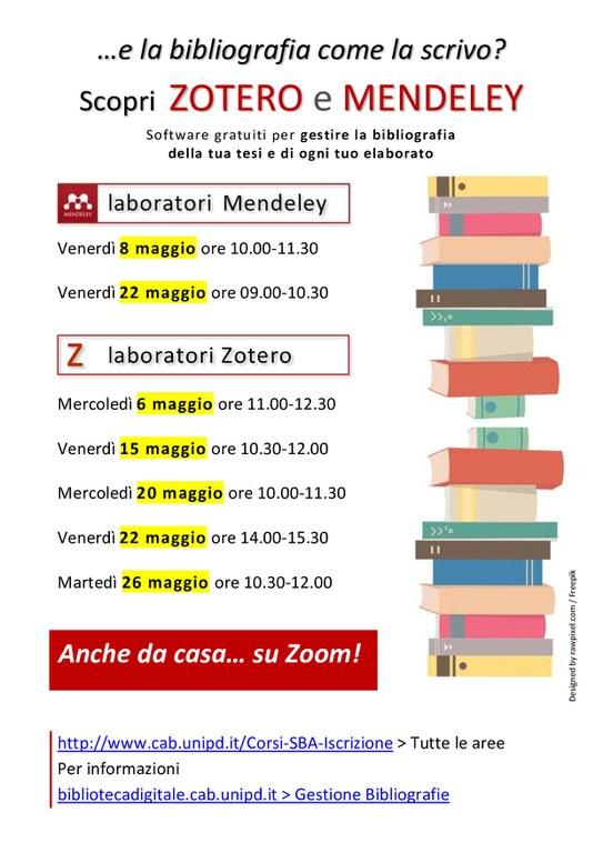 Locandina con date per Gestione bibliografia con sw gratuiti Mendeley e Zotero