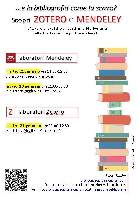 Laboratori su  come gestire le bibliografie con Mendeley e Zotero