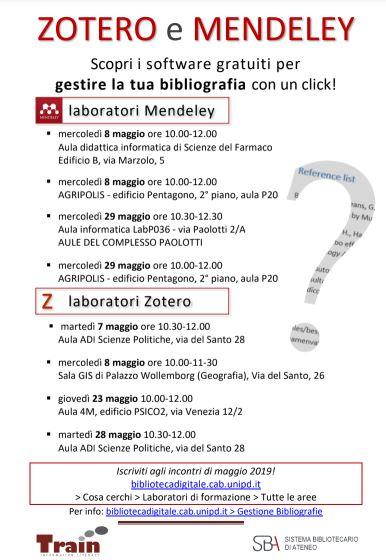 Date dei laboratori sulla gestione delle bibliografie:MendeleyZotero