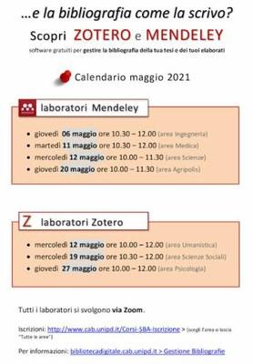 Date dei laboratori: come scrivere una bibliografia con Mendeley e Zotero.
