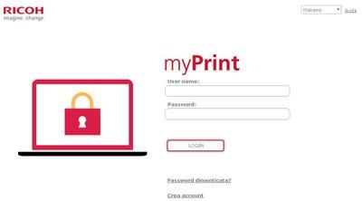 Homepage della pagina della ditta Ricoh per il servizio MyPrint