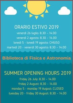 Locandina orario estate 2019