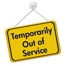 sfondo giallo con testo nero: Temporarily out of service
