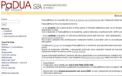 screenshot della pagina Padua@thesis