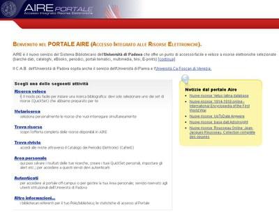 Immagine della homepage del portale AIRE