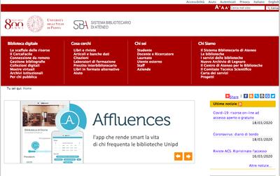 Homepage del portale
