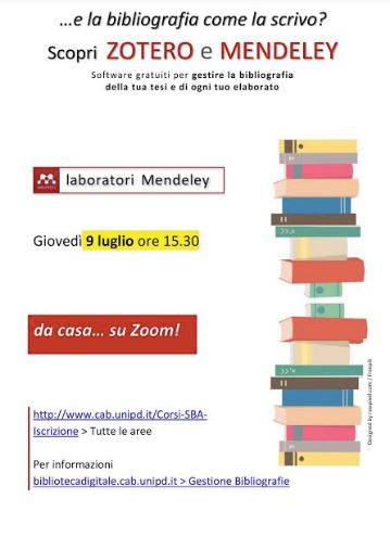 Locandina con laboratorio Mendeley data 9 luglio ore 15:30