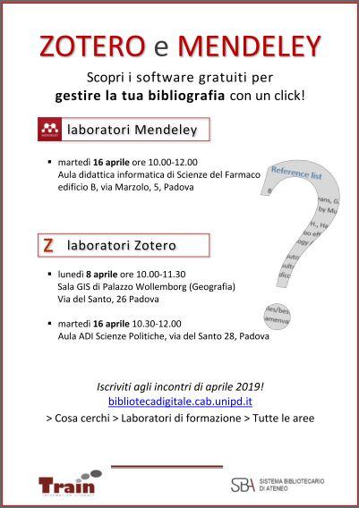 Locandina con date e luogo per Mendeley e Zotero sw per gestire la bibliografia